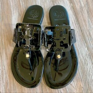 TORY BURCH Miller Black Patent Sandals 8.5